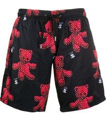 philipp plein teddy-print swim shorts - black