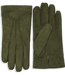 saks fifth avenue men's classic suede gloves - brown - size s