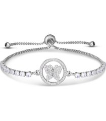 cubic zirconia butterfly adjustable slider bolo bracelet in fine silver plate