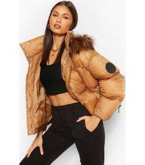 gewatteerde jas met faux fur zoom, camel
