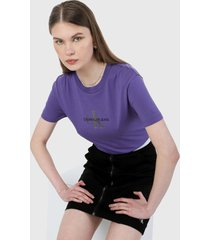 camiseta violeta-plateado-negro calvin klein