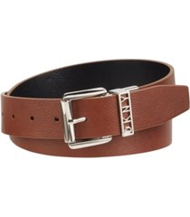 dkny reversible smooth belt with logo keeper
