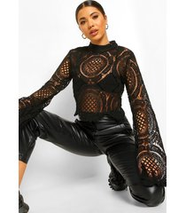 gehaakte kanten crop top met turtle neck, black