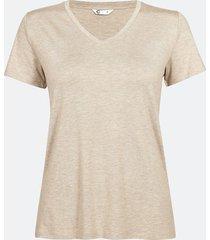 kortärmad t-shirt med v-ringning - melerad beige