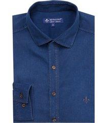 camisa dudalina jeans lisa manga longa essentials masculina (jeans medio, 7)