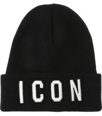dsquared2 black white icon beanie