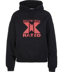 black woman hoodie with x-rated print