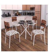 conjunto de mesa com tampo de vidro e 4 cadeiras istambul ii branco e junco