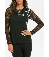 halloween bat print lace-up lace sleeve t-shirt