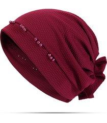 donna casual beanie bonnet turbante con fiore grande
