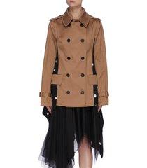 drawstring polka dot back trench jacket