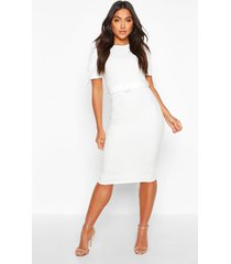 belted puff sleeve midi dress, ivory