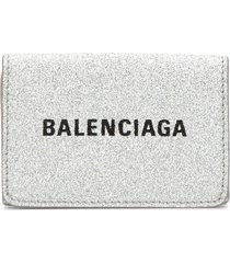 balenciaga everyday mini wallet - silver