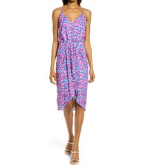 chelsea28 sleeveless faux wrap dress, size medium in fuchsia floral at nordstrom
