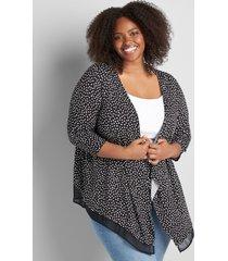 lane bryant women's lane essentials open-front chiffon cardigan 34/36 pebble dot
