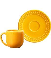xícara café sevilha mostarda cerâmica conjunto 6 peças 112 ml porto brasil