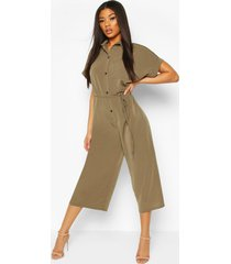 woven button up tie waist utility jumpsuit, khaki