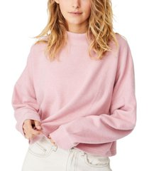 cotton on women's brina brushed rib mock neck sweater