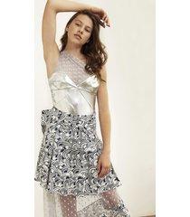 spódnica midi transparentna we wzór