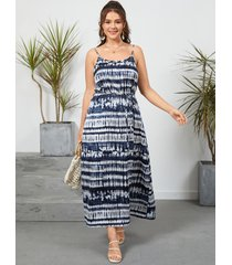yoins vestido largo de talla grande con diseño de espagueti con efecto tie dye sin espalda y diseño de corbata