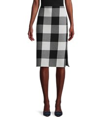 pure navy women's buffalo plaid jacquard skirt - black pearl - size xs