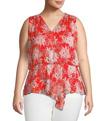 cinched floral surplice top