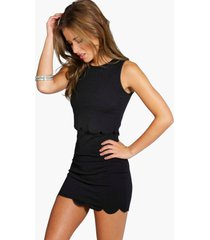 petite double layer scallop hem dress, black