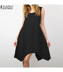 zanzea vestido corto de playa de fiesta de verano con escote en v de algodón corto para mujer -negro
