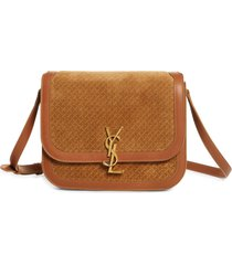 saint laurent medium solferino woven print suede shoulder bag - brown