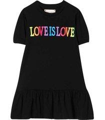 alberta ferretti black dress with multicolor press