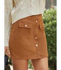 minifalda delantera con botones de pana yoins