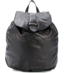 brunello cucinelli drawstring leather backpack - black