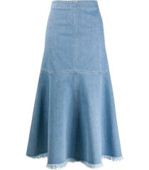 simonetta ravizza flared midi denim skirt - blue
