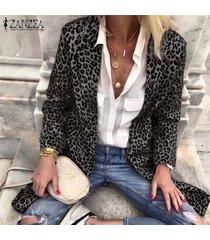 zanzea leopardo de las mujeres ocasional da vuelta-abajo-cuello de impresión tops capas largas traje cardigan -gris