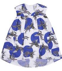 kenzo spot & bird motif print dress