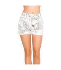 sexy zakelijke uitstraling shorts gestreept met strik wit