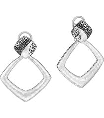 women's john hardy classic chain hammered silver square drop back earrings