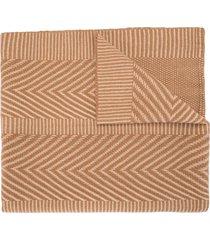 voz chevron pattern knitted shawl - brown
