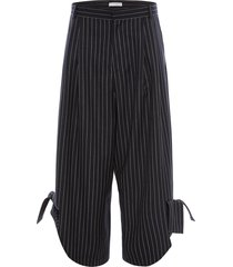 jw anderson pinstripe bow details trousers - blue