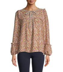 max studio women's crepe floral printed blouse - ivory multi - size xl