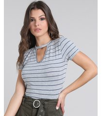 blusa feminina básica choker listrada manga curta cinza mescla