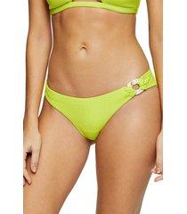 women's topshop crinkle bikini bottoms, size 2 us - green