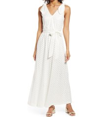 donna ricco bow shoulder belted lace dress, size 8 in ivory at nordstrom