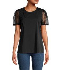 karl lagerfeld paris women's knit lace-sleeve top - black - size xs