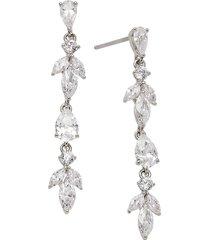 adriana orsini women's rhodium-plated & crystal linear drop earrings