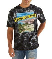 guess men's enjoy the trip graphic tie-dye t-shirt