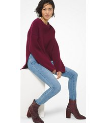 mk pullover in lana stretch a coste - dark ruby - michael kors