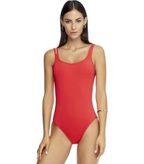 jets by jessika allen double strap swimsuit flamingo