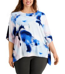 alfani plus size printed asymmetrical dolman-sleeve top, created for macy's