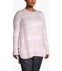lane bryant women's active tie-dye stripe hooded tunic 26/28 light pink